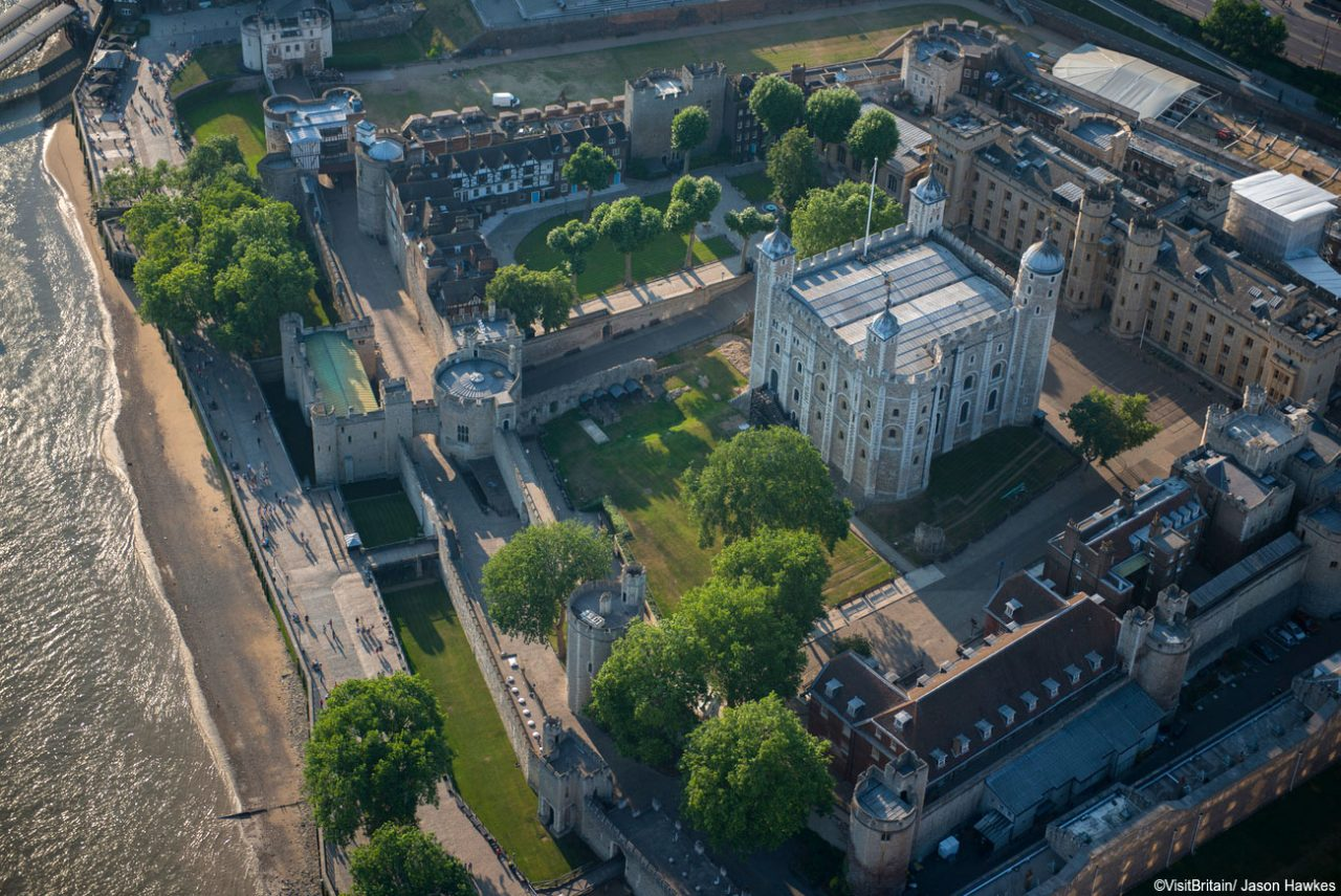 Aerial view of the Tower of London. The White Tower is the central fortified building in the centre of the Tower of London complex. (Photo: ©VisitBritain/ Jason Hawkes)