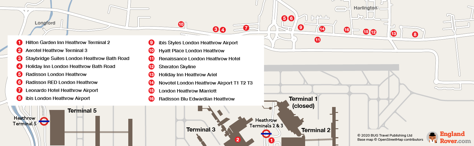 Map of hotels near Heathrow Terminals 2 and 3