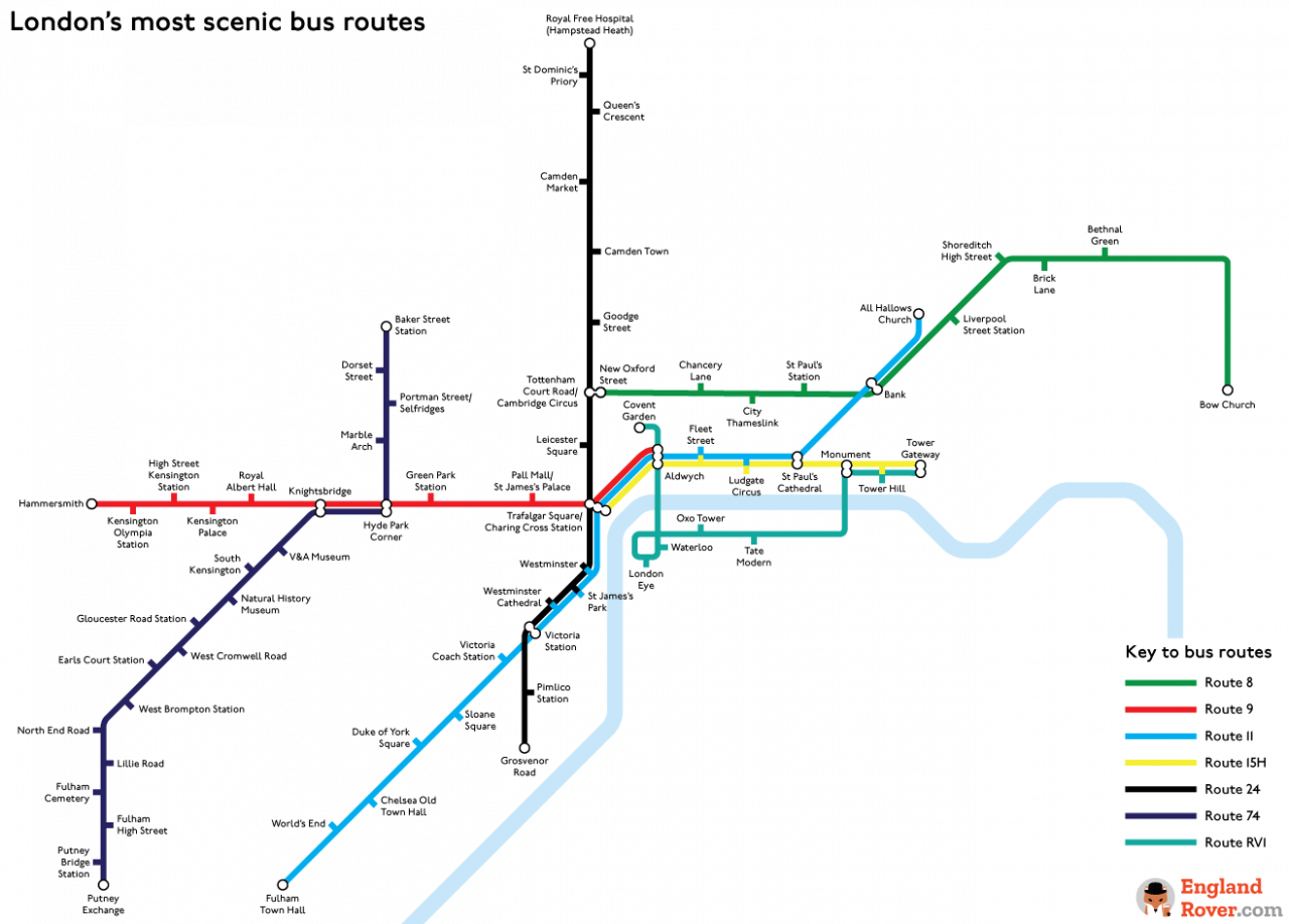 Map of London's most scenic bus routes