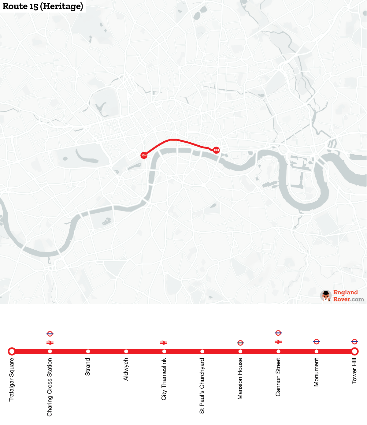Map of London bus route 15H
