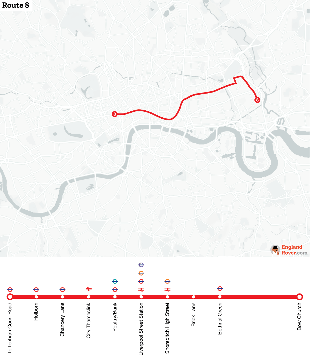 Map of London bus route 8