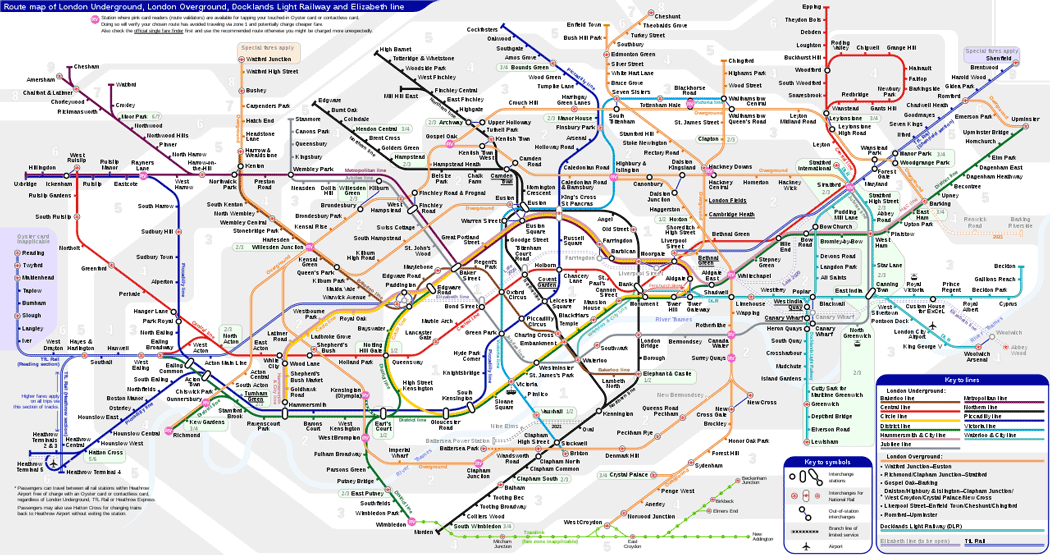 Unofficial map of the London Underground network including fare zones. (Photo: Sameboat [CC BY-SA 4.0])