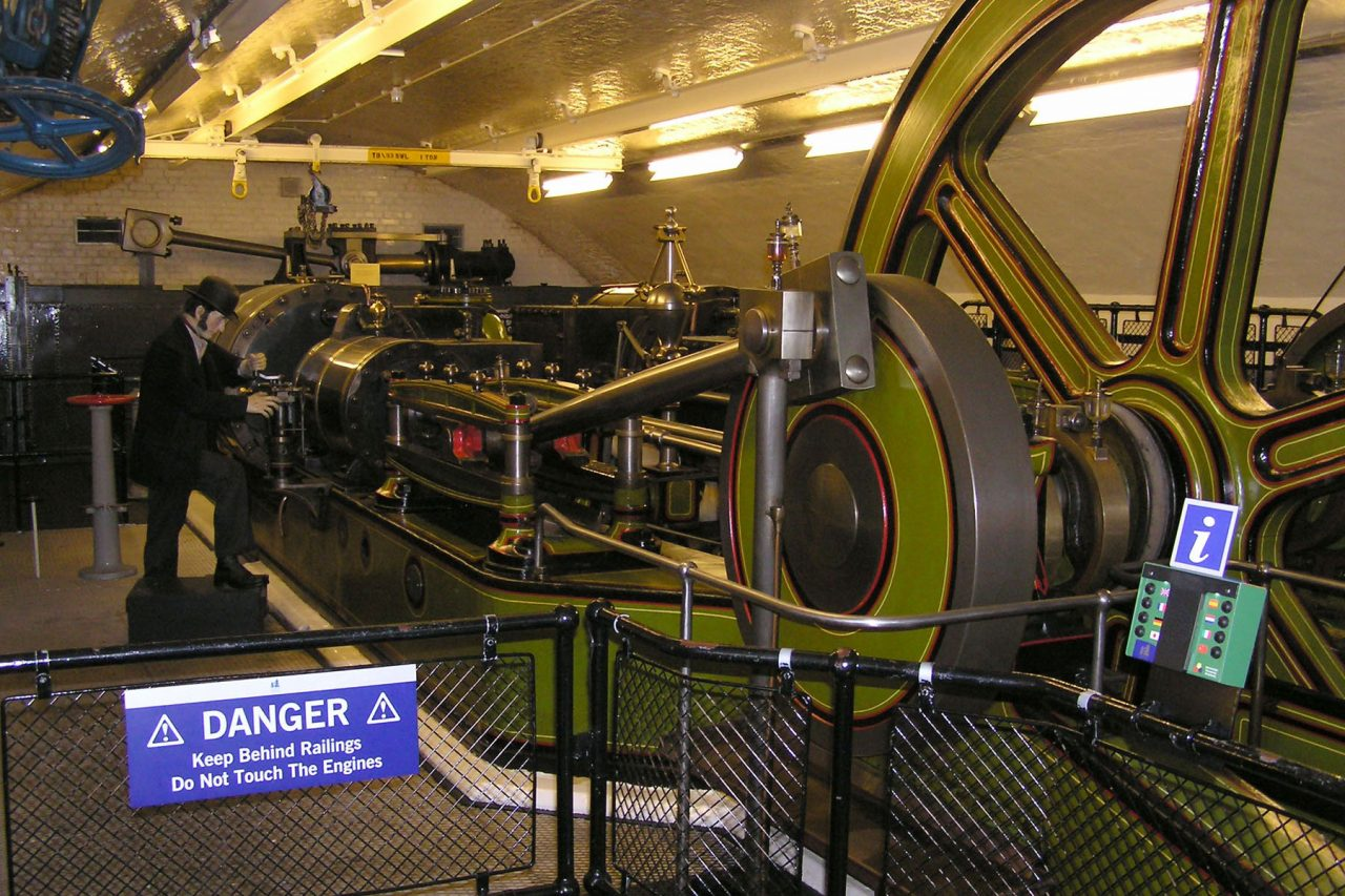 One of the original steam engines that powered Tower Bridge's bascules.