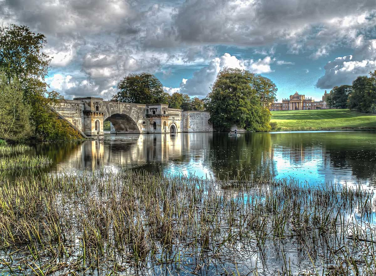 Vanbrugh's Grand Bridge between Queen Pool and Great Lake on the grounds of Blenheim Palace