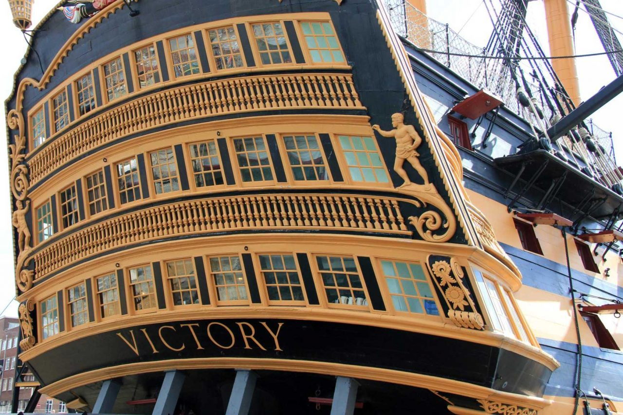 HMS Victory at Portsmouth Historic Dockyard in Portsmouth, Hampshire (Photo: Karen Roe [CC BY-SA 2.0])