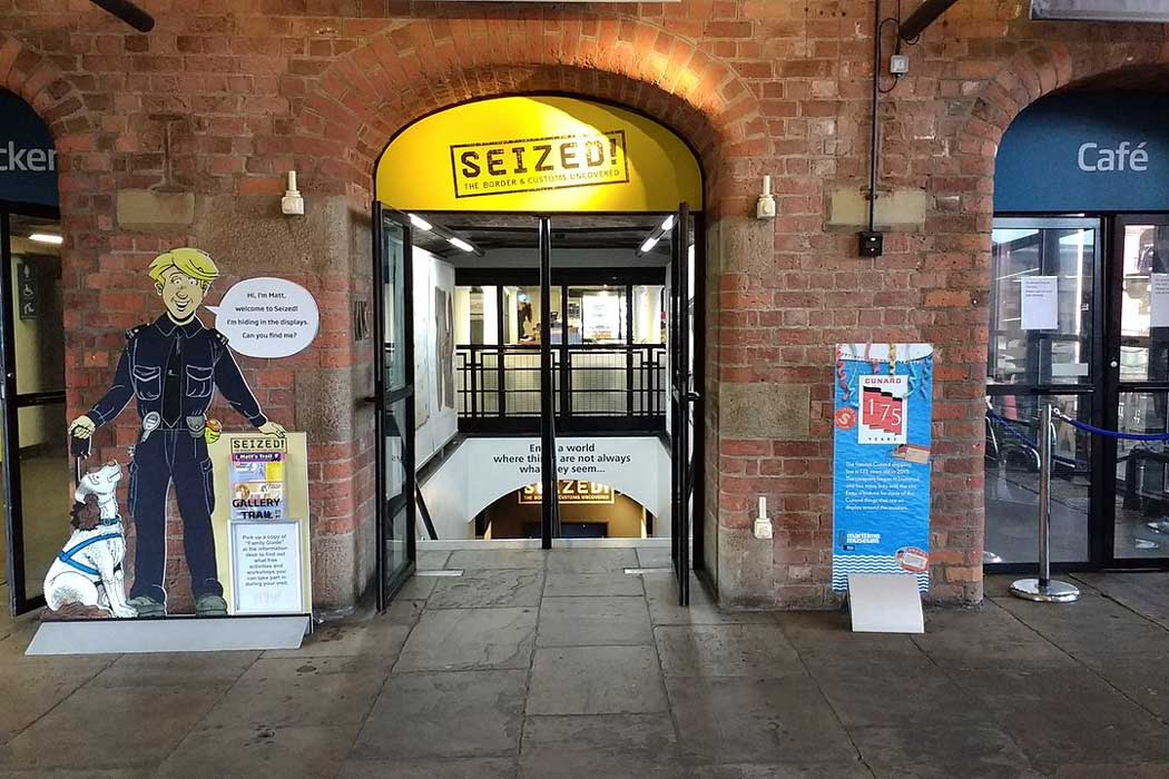 The entrance to Seized! The Border and Customs Uncovered gallery at the Merseyside Maritime Museum in Liverpool. (Photo: Kelvin 101 [CC BY-SA 4.0])