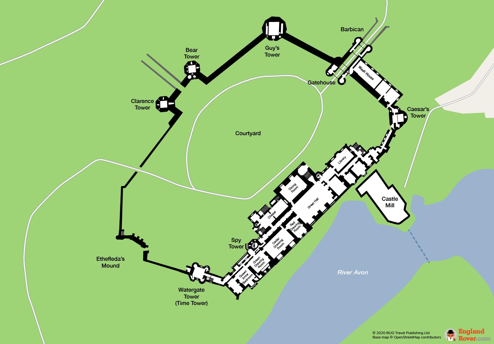 Map and floor plan of Warwick Castle