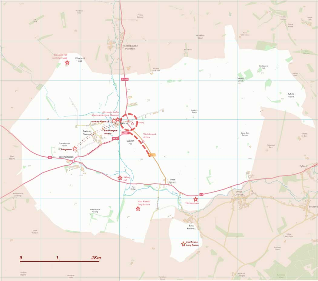 Map of the Avebury area of the Stonehenge and Avebury World Heritage Site (Contains Ordnance Survey data © Crown copyright and database right (2019))