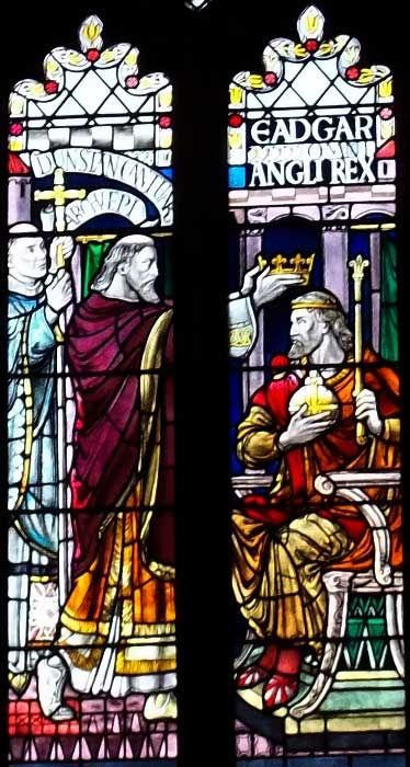 A 19th-century stained glass window depicting King Edgar's coronation.