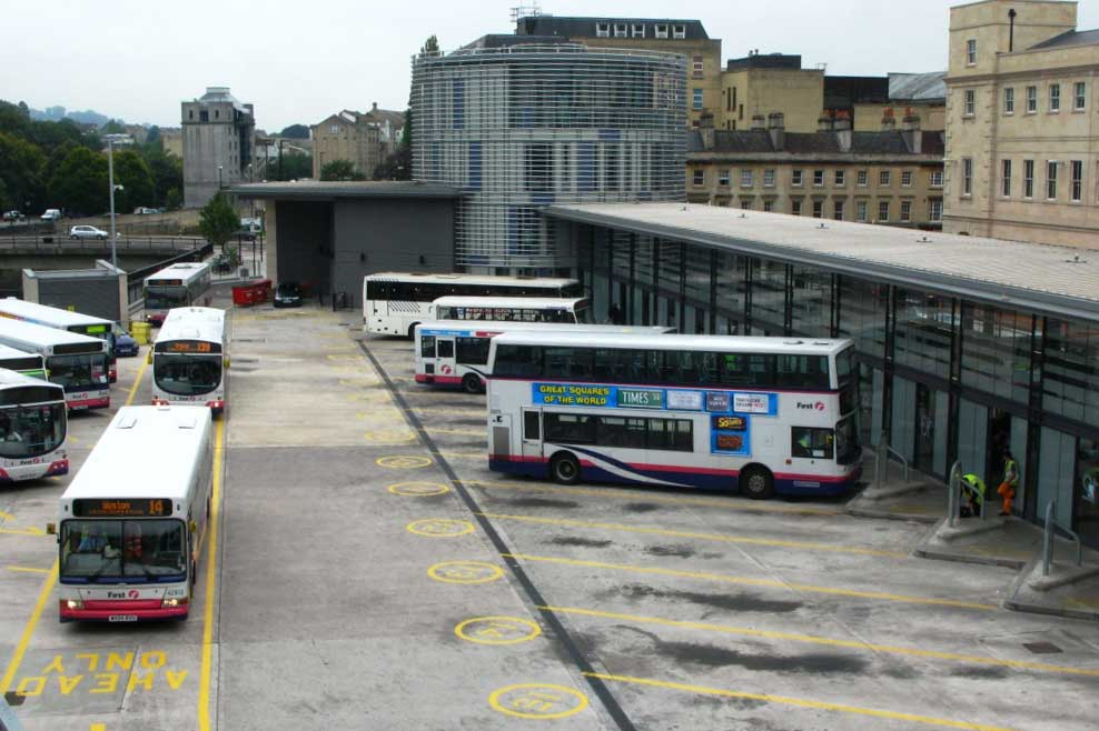Bath bus station in Bath, Somerset (Photo: Geof Sheppard [CC BY-SA 3.0], from Wikipedia)