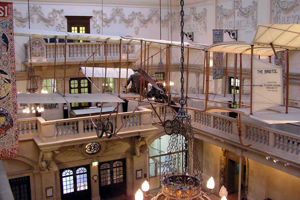 A replica of a Bristol Biplane, which was made in 1963 for the film Those Magnificent Men in their Flying Machines, hangs from the ceiling of the main hall at the Bristol Museum & Art Gallery.