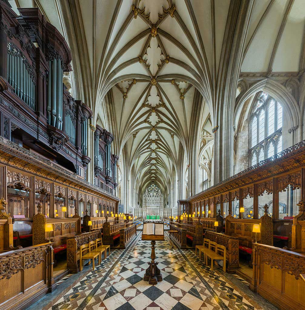 Bristol Cathedral's unique vaulted ceilings as seen from the choir. (Photo by David Iliff. Licence: [CC BY-SA 3.0])