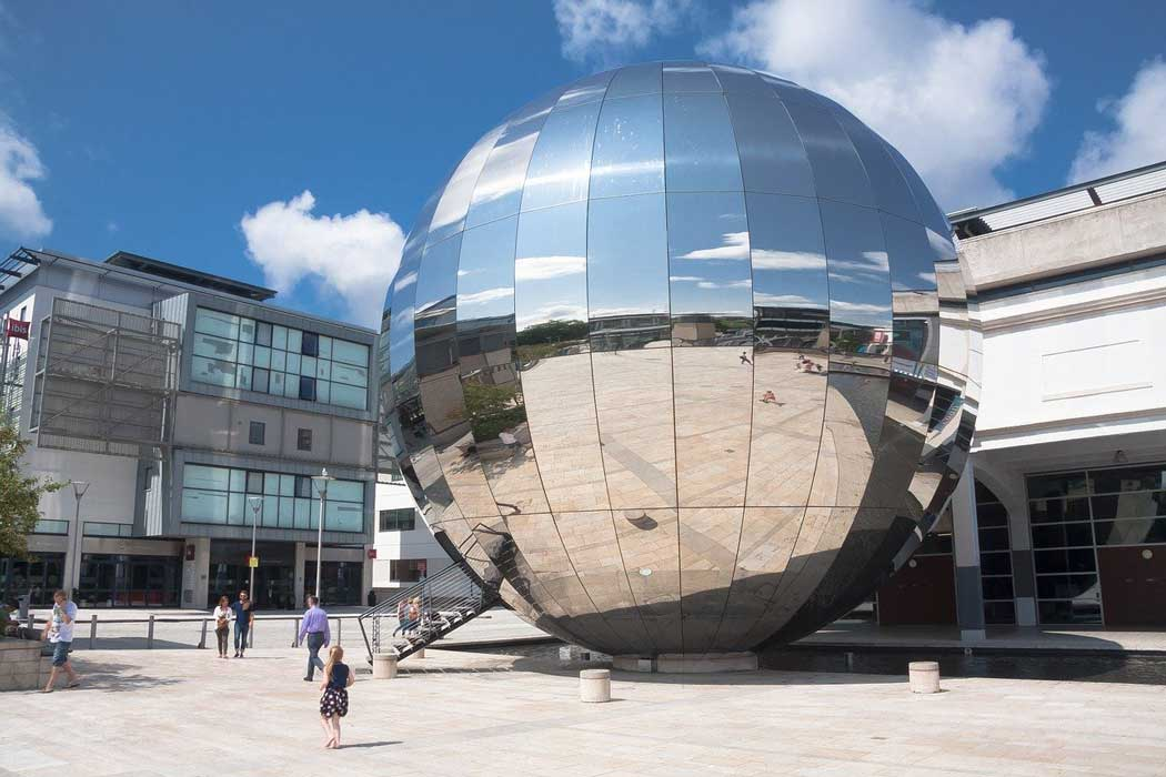 The planetarium at We The Curious is located inside the large stainless steel sphere that dominates Millennium Square.