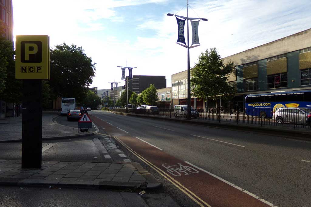 Megabus stop on Bond Street in Bristol (Photo: Adrian Cable [CC BY-SA 2.0])