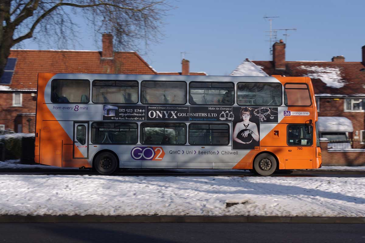 Nottingham City Transport bus in Nottingham, Nottinghamshire (Photo: mattbuck [CC BY-SA 2.0])