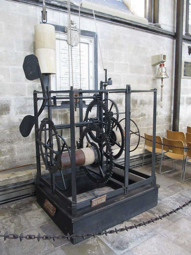 Dating from 1386, Salisbury Cathedral's clock is considered by many to be the world's oldest working clock. (Photo: Rwendland [CC BY-SA 3.0])