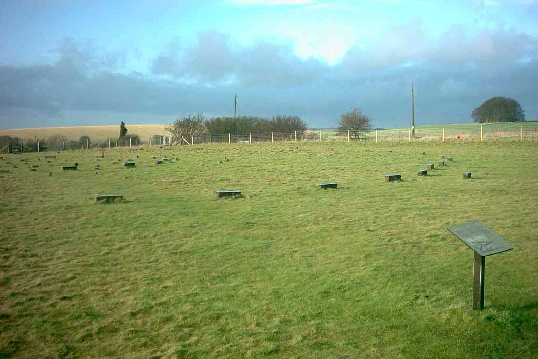 Concrete markers indicate the position where the stones originally stood at the Sanctuary, around 3km (2 miles) southeast of the Avebury henge.