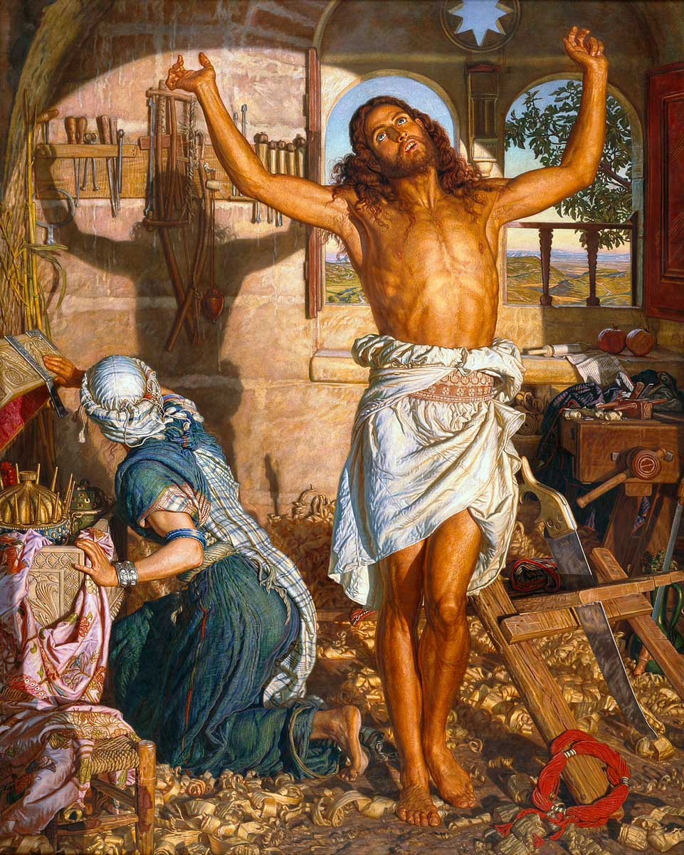The Shadow of Death (1873) by William Holman Hunt. There are two versions of this painting. The larger version is on display at the Manchester Art Gallery, but the smaller one at the Leeds Art Gallery is considered to have a sharper appearance to the one in Manchester. It was the highest price every paid for a Pre-Raphaelite painting when it was sold for £1.8 million in 1994.