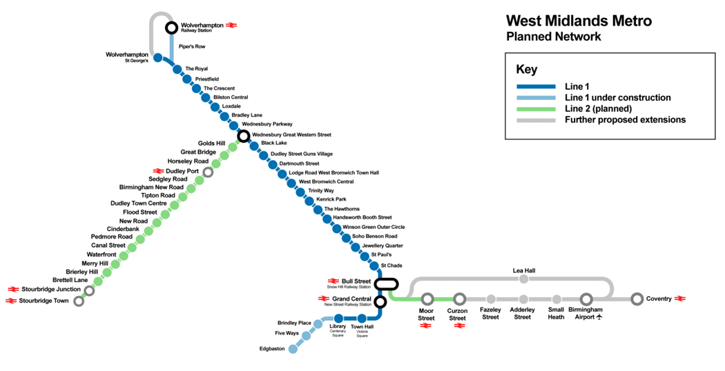 West Midlands Metro tram network map