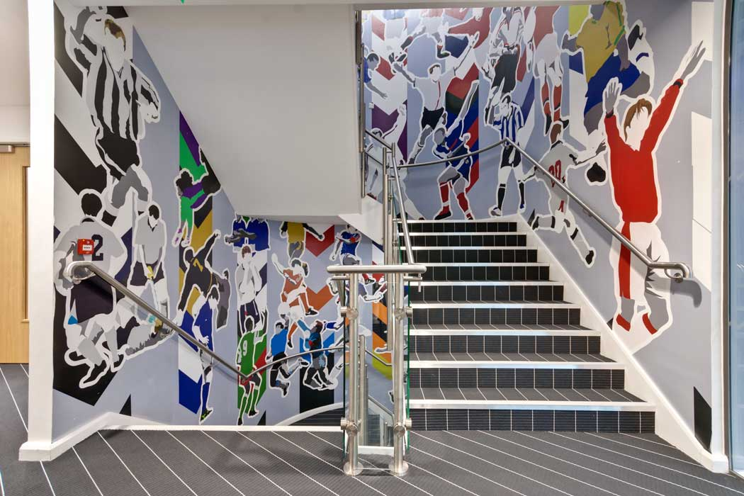 The hotel's football-themed interior. (Photo: Marriott)