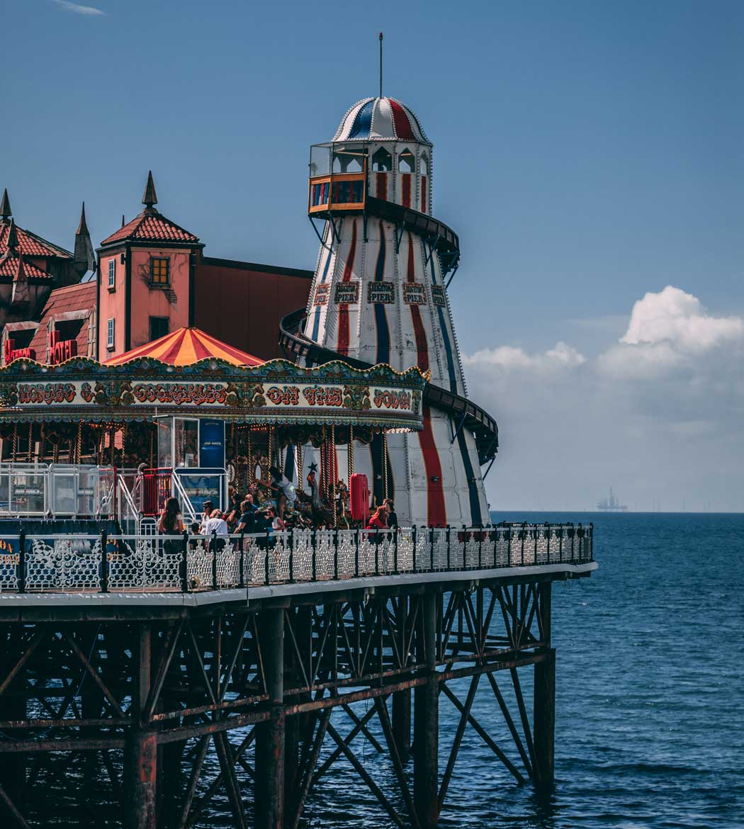The Helter Skelter is a spiral slide at the end of Brighton Palace Pier (Photo by James Baldwin on Unsplash)