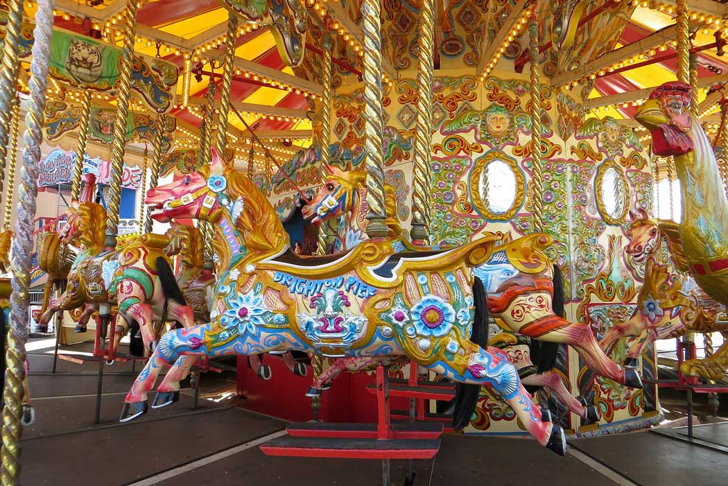 The merry-go-round on the Brighton Pier is a great place to take the kids