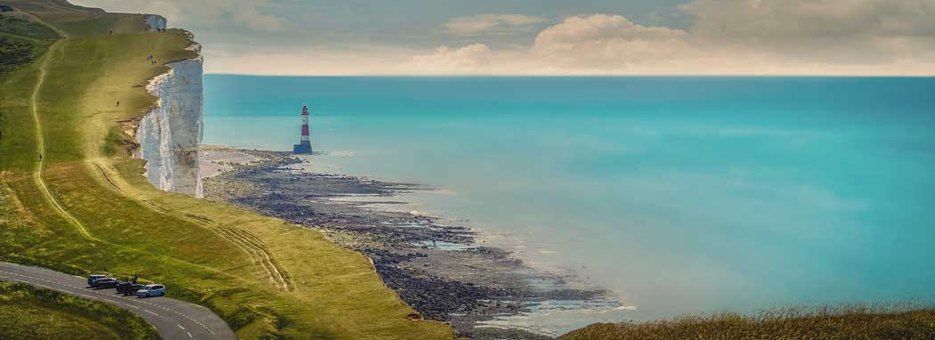 Beachy Head and the Beachy Head Lighthouse near Eastbourne, East Sussex