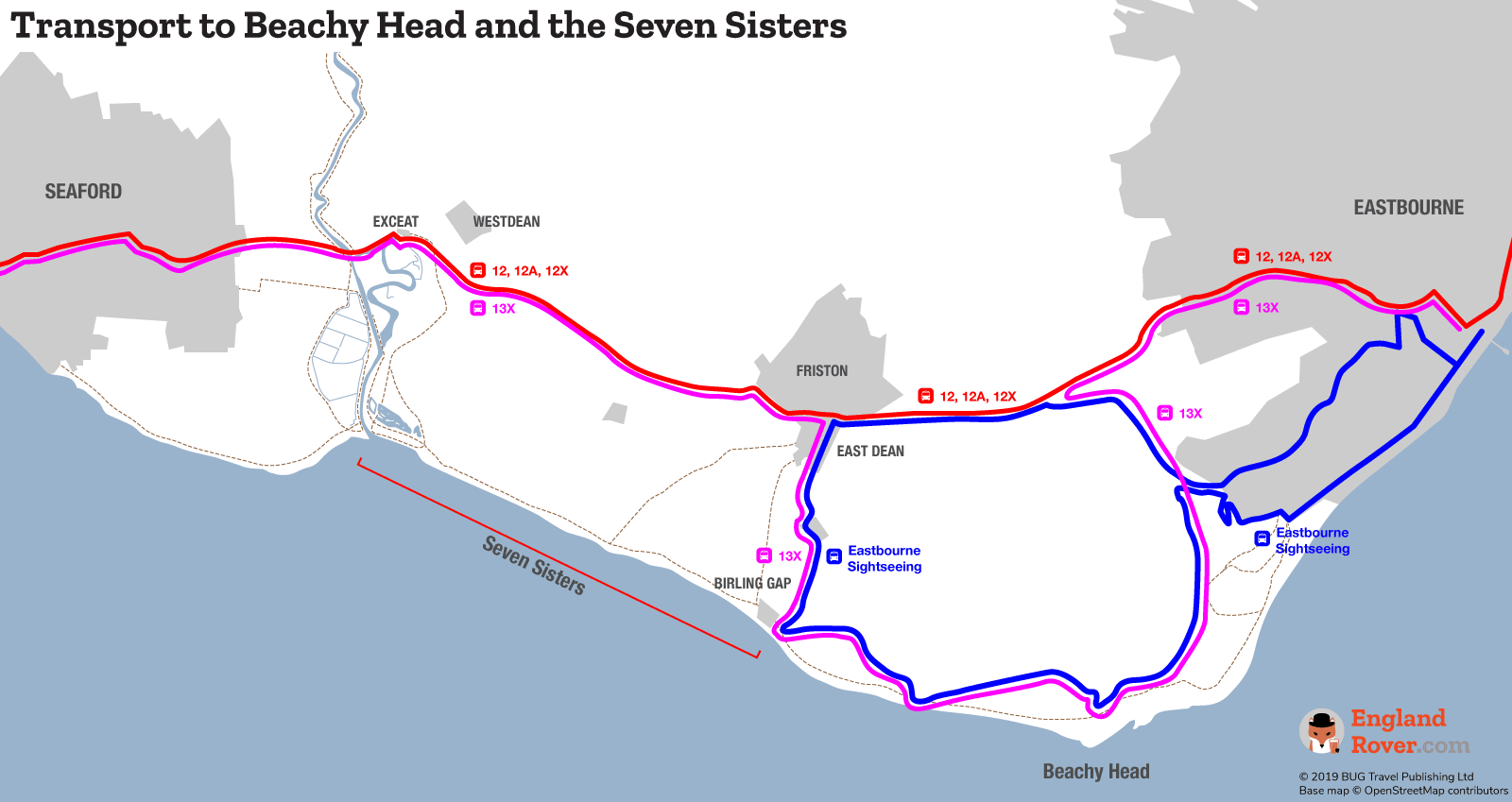 Map of bus routes to Beachy Head and the Seven Sisters