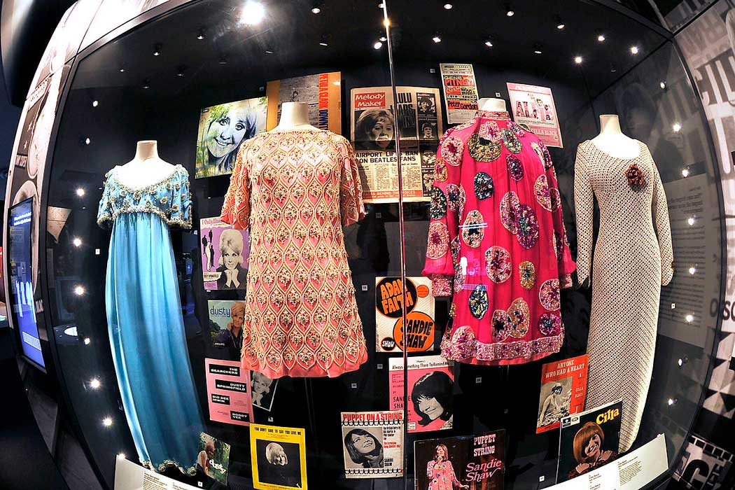 Cilla Black and Dusty Springfield's dresses on display at the British Music Experience. (Photo: Liz Koravos [CC BY-SA 4.0])