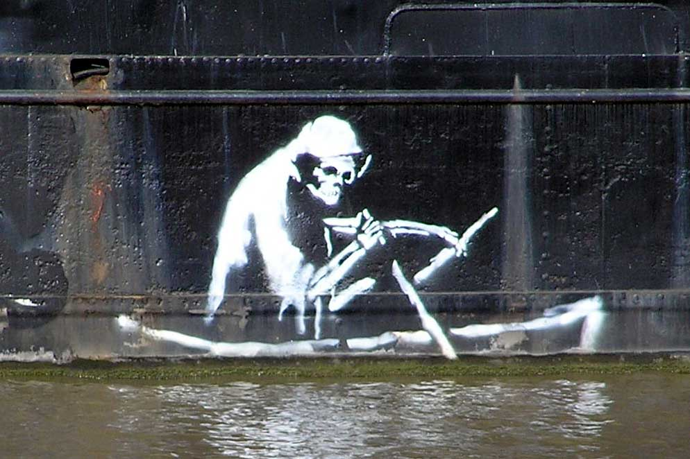 Banksy's Grim Reaper was stencilled onto the waterline of the Thekla. It has now been removed and is on display outside the Bristol Life gallery at the M Shed Museum.