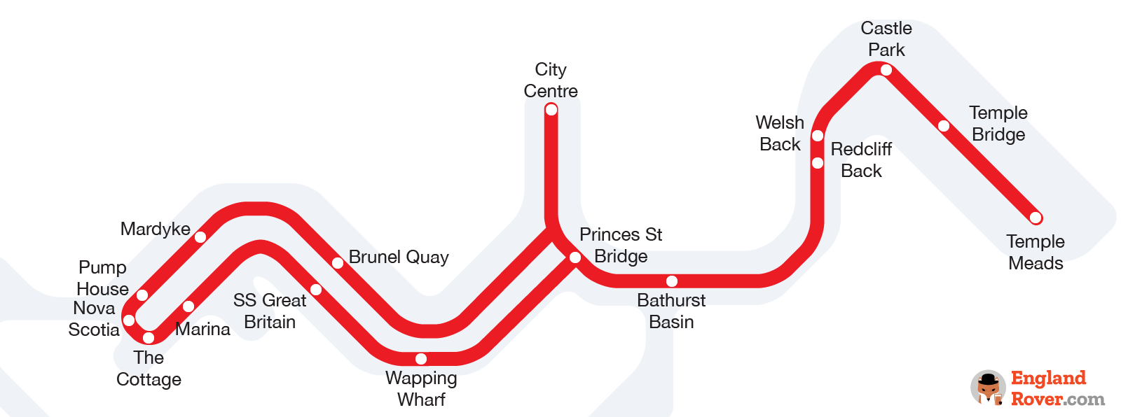 Bristol Harbour Ferry route map