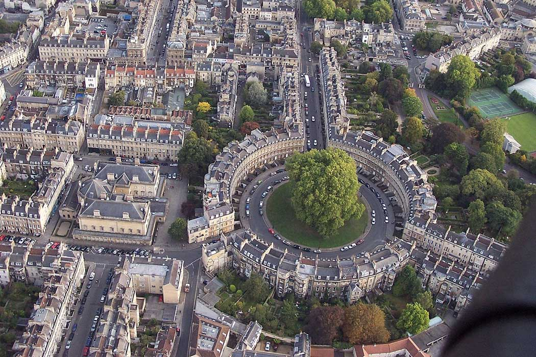 An aerial view of The Circus in Bath. (Photo: Roger Beale [CC BY-SA 2.0])